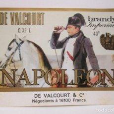 Etiquetas antiguas: ANTIGUA ETIQUETA BRANDY COÑAC, DE VALCOURT NAPOLEÒN. Lote 214355298