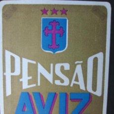 Etiquetas antiguas: ETIQUETA HOTEL PENSÃO AVIZ - PORTO - PORTUGAL - 10,5 CM - SIN ENGOMAR - LEVES MARCAS ANGULARES. Lote 216436230