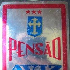 Etiquetas antiguas: ETIQUETA HOTEL PENSÃO AVIZ - PORTO - PORTUGAL - 10,5 CM - PEGATINA - PLATEADA. Lote 216436782