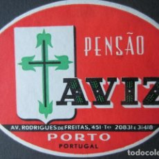 Etiquetas antiguas: ETIQUETA HOTEL PENSÃO AVIZ - PORTO - PORTUGAL - 10,5 CM - SIN ENGOMAR. Lote 216436910
