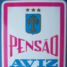 Etiquetas antiguas: ETIQUETA HOTEL PENSÃO AVIZ - PORTO - PORTUGAL - 10,5 CM - PEGATINA. Lote 216438936