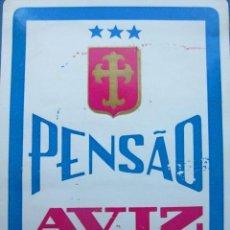 Etiquetas antiguas: ETIQUETA HOTEL PENSÃO AVIZ - PORTO - PORTUGAL - 10,5 CM - SIN ENGOMAR. Lote 216440415