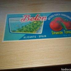 Étiquettes anciennes: ANTIGUA ETIQUETA DE TOMATES. BELÓN. ANTONIO MARCO TORREGROSA. ALICANTE. Lote 216753267