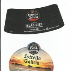 Etiquetas antiguas: ETIQUETA CERVEZA ESTRELLA GALICIA ISLAS CIES. Lote 216931321