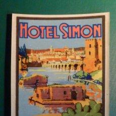 Étiquettes anciennes: ETIQUETA MALETA - LUGGAGE LABEL - HOTEL SIMÓN - CÓRDOBA - ESPAÑA - 10 X 7,5 CM -. Lote 217540733