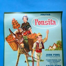 Etiquetas antiguas: 15 ANTIGUAS ETIQUETAS DE NARANJAS - PONSITA - TAVERNES DE LA VALLDIGNA, VALENCIA. Lote 218404081