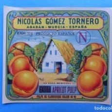 Etiquetas antiguas: 15 ANTIGUAS ETIQUETAS PULPA DE ALBARICOQUE - NICOLAS GOMEZ TORNERO - ABARAN, MURCIA. Lote 218416506