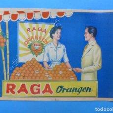 Etiquetas antiguas: 10 ANTIGUAS ETIQUETAS DE NARANJAS - RAGA ORANGEN - VALENCIA. Lote 218423157