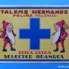 Etiquetas antiguas: 15 ANTIGUAS ETIQUETAS DE NARANJAS - TALENS - POLIÑA (VALENCIA). Lote 218426111