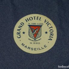Etiquetas antiguas: ETIQUETA DE HOTEL - GRAND HOTEL VICTORIA, MARSEILLE, 8,5CM,BUEN ESTADO. Lote 218579263