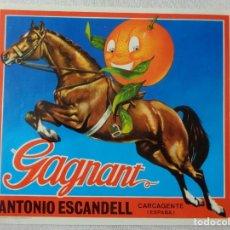 Etiquetas antiguas: ETIQUETA PARA NARANJAS.GAGNANT,N.-072. Lote 218619532
