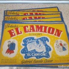 Etiquetas antiguas: LOTE DE 10 ETIQUETAS DETERGENTE EL CAMION JATIVA ( VALENCIA ) NUEVAS.. Lote 218635573