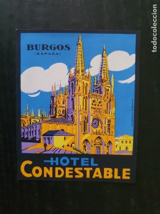 ETIQUETA ADHESIVA DE HOTEL CONDESTABLE. BURGOS (Coleccionismo - Etiquetas)