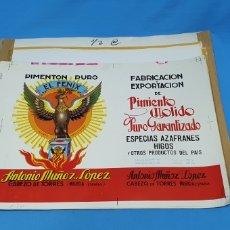 Etiquetas antiguas: PRUEBA DE IMPRENTA PARA LATA DE 5'750 KG. - ANTONIO MUÑOZ LÓPEZ - CABEZO DE TORRES - MURCIA. Lote 218766278