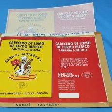 Etiquetas antiguas: PRUEBA DE IMPRENTA PARA LATA - CABECERO DE LOMO IBÉRICO - CAMPAÑA DE BELLOTA - G. CASTAÑO - HUELV. Lote 218768472