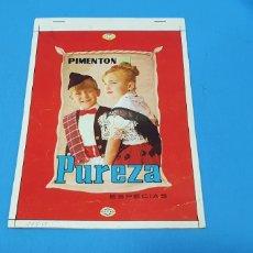 Etiquetas antiguas: PRUEBA DE IMPRENTA PARA LATA - PIMENTÓN PUREZA - ESPECIAS. Lote 218768886