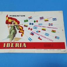 Etiquetas antiguas: PRUEBA DE IMPRENTA PARA LATA DE 2'875 K. - PIMENTÓN IBERIA - ANTONIO FUSTER - MURCIA - ESPAÑA. Lote 218769401