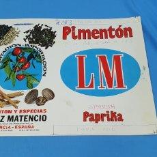 Etiquetas antiguas: PRUEBA DE IMPRENTA PARA LATA DE 5'750 KG - PIMENTÓN LM - PAPRIKA - LÓPEZ MATENCIO - MURCIA ESPAÑ. Lote 218773666