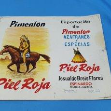Etiquetas antiguas: PRUEBA DE IMPRENTA PARA LATA DE 6 KG - PIMENTÓN PIEL ROJA - JESUALDO BREIS FLORES - ESPINARDO. Lote 218776578