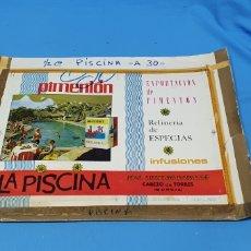 Etiquetas antiguas: CARTEL PRUEBA DE IMPRENTA - PIMENTÓN LA PISCINA - CABEZO DE TORRES. Lote 218783953