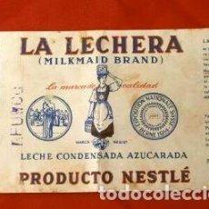 Etiquetas antiguas: ANTIGUA ETIQUETA LA LECHERA DE NESTLE (AÑO 1963) LECHE CONDENSADA MILKMAID BRAND. Lote 219165937