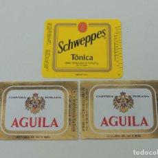 Etiquetas antiguas: TRES ETIQUETAS CERVEZA AGUILA Y SCHWEPPES TONICA. Lote 219211265