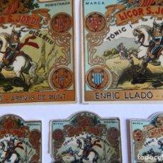 Etiquetas antiguas: 5 ETIQUETAS / LICOR S. JORDI TÒNIC I DIGESTIU - ENRIC LLADO - ARENYS DE MUNT / SANT JORDI I EL DRAC. Lote 219297755