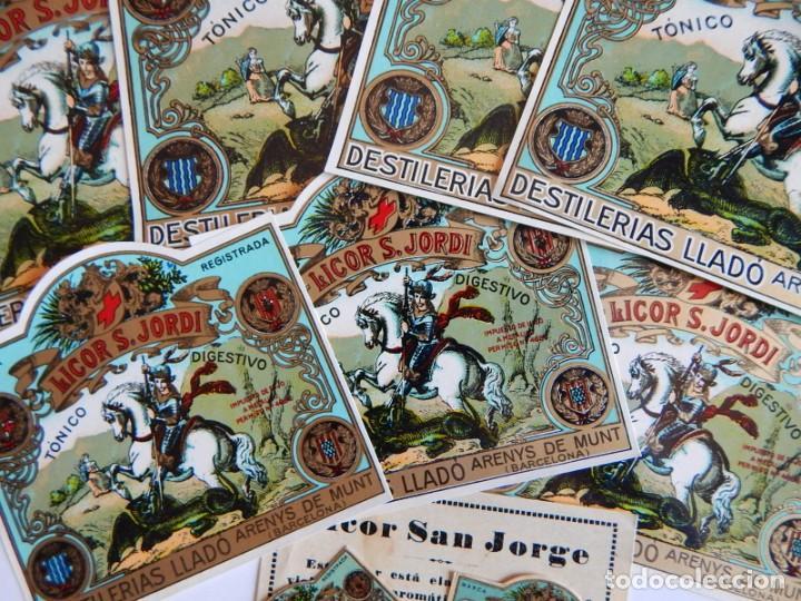 10 ETIQUETAS / LICOR S. JORDI - SAN JORGE - TÓNICO DIGESTIVO - DESTILERÍAS LLADÓ - ARENYS DE MUNT (Coleccionismo - Etiquetas)