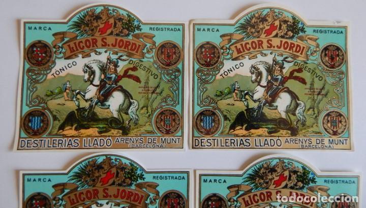 Etiquetas antiguas: 10 Etiquetas / Licor S. Jordi - San Jorge - Tónico Digestivo - Destilerías Lladó - Arenys de Munt - Foto 5 - 219298561