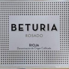 Etiquetas antiguas: ETIQUETA VINO DE RIOJA BETURIA, ROSADO, BODEGA COOPERATIVA VIRGEN DE LA VEGA (HARO).. Lote 295473648