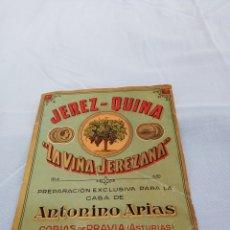 Etiquetas antiguas: ETIQUETA LA VIÑA JEREZANA. CORIAS DE PRAVIA ASTURIAS. LITOGRAFIA VIÑA. Lote 219696558