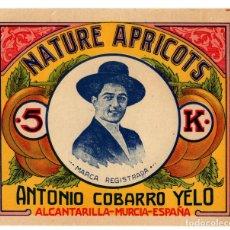 Etiquetas antiguas: ALCANTARILLA.(MURCIA).- ANTONIO COBARRO YELO. CONSERVAS DE FRUTAS. 15,5X13.. Lote 219887246