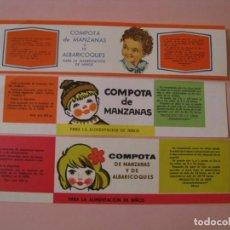 Etiquetas antiguas: 3 ETIQUETAS DE COMPOTAS PARA LA ALIMENTACIÓN DE NIÑOS. URSS, AÑOS 70. IMPORTACIÓN EN ESPAÑOL.. Lote 219909026