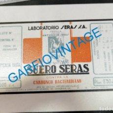 Etiquetas antiguas: ANTIGUA ETIQUETA SUERO SERAS, MUY RARA. Lote 221141337
