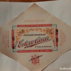 Etiquetas antiguas: ETIQUETA ENVOLTORIO CHOCOLATES CASAS. Lote 221705132