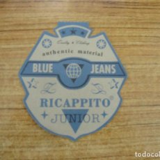 Etiquetas antiguas: ETIQUETA BLUE JEANS RECAPPITO. Lote 221711257