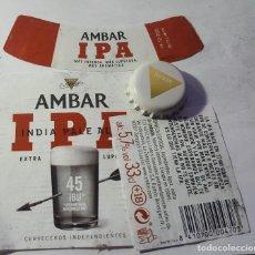 Etiquetas antiguas: ETIQUETA Y CHAPA DE CERVEZA AMBAR. Lote 221838881