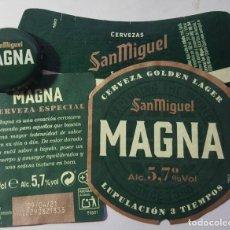 Etiquetas antiguas: ETIQUETA Y CHAPA DE CERVEZA. Lote 221839536