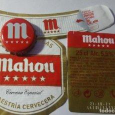 Etiquetas antiguas: ETIQUETA Y CHAPA DE CERVEZA MAHOU. Lote 221839586