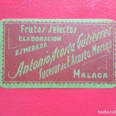 Etiquetas antiguas: ETIQUETA DE FRUTOS SECOS ANTONIO ACOSTA GUTIERREZ SUCESOR DE F. ACOSTA MERINO , MALAGA. Lote 221895040