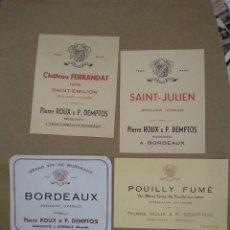 Etiquetas antiguas: 4 ETIQUETAS VINO BORDEAUX FERRANDAT, SAINT JULIÁN, ROUX, POUILLY FUME.. Lote 221906693