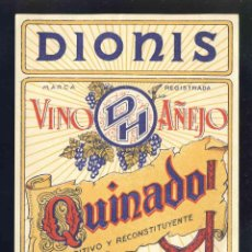 Etiquetas antiguas: ETIQUETA DE LICOR: VINO AÑEJO QUINADO DIONIS DE VALENCIA. Lote 221921888