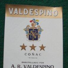 Etiquetas antiguas: ETIQUETA DE VINOS VALDESPINO COÑAC. Lote 222023867