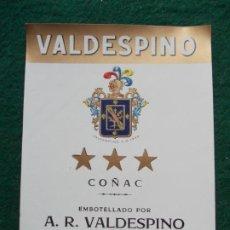 Etiquetas antiguas: ETIQUETA DE VINOS VALDESPINO COÑAC. Lote 222023917