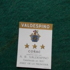 Etiquetas antiguas: ETIQUETA DE VINOS VALDESPINO COÑAC. Lote 222023946