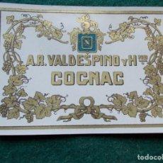 Etiquetas antiguas: ETIQUETA DE VINOS VALDESPINO COÑAC. Lote 222023987