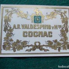 Etiquetas antiguas: ETIQUETA DE VINOS VALDESPINO COÑAC. Lote 222024078