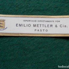 Etiquetas antiguas: ETIQUETA DE VINOS EMILIO METTLER PASTO. Lote 222025717