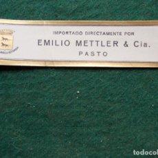 Etiquetas antiguas: ETIQUETA DE VINOS EMILIO METTLER PASTO. Lote 222025736