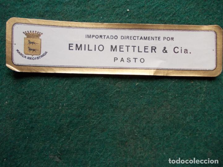 ETIQUETA DE VINOS EMILIO METTLER PASTO (Coleccionismo - Etiquetas)